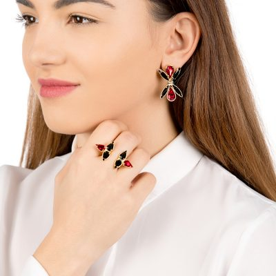 """Dawn""-925+18k Red Earrings"