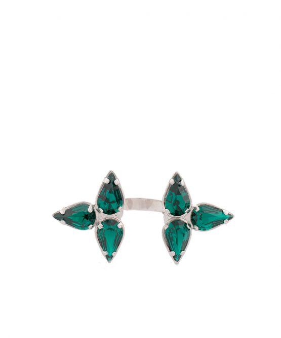 Embrace-ring silver/green