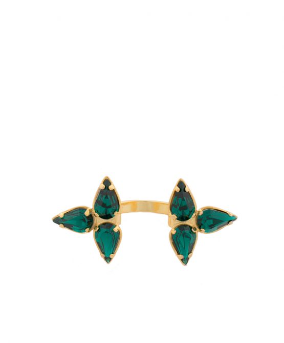 Embrace-ring gold/green