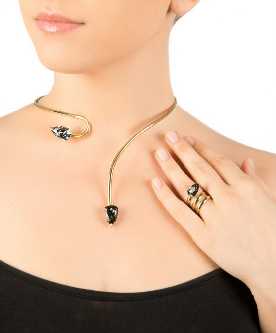 cobra necklace/ring -gold plated