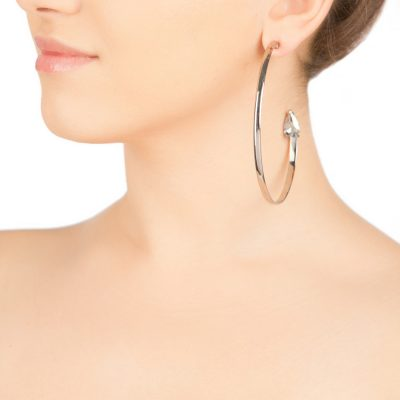 Cobra – Rhodium Plated Half Hoops