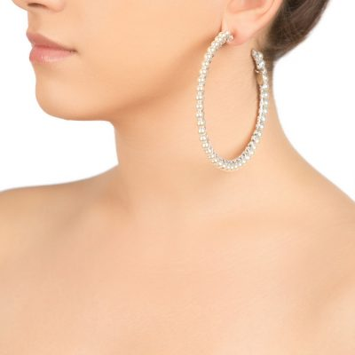 Silver Colored Pearl Hoops