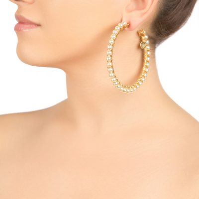 Gold Colored Pearl Hoops