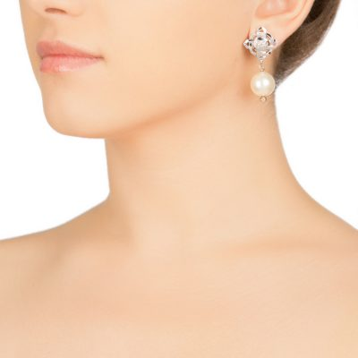Brand Pearl Earrings- Rhodium Plated