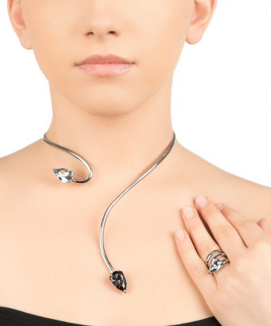 cobra necklace/ring -Rhodium plated