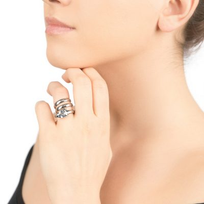 Cobra – rhodium plated ring