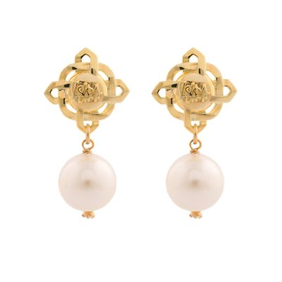 Brand Pearl Earrings -Gold Plated