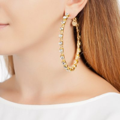Gold Colored Crystal Hoops