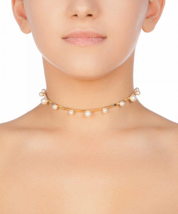 pearl magic choker gold plated