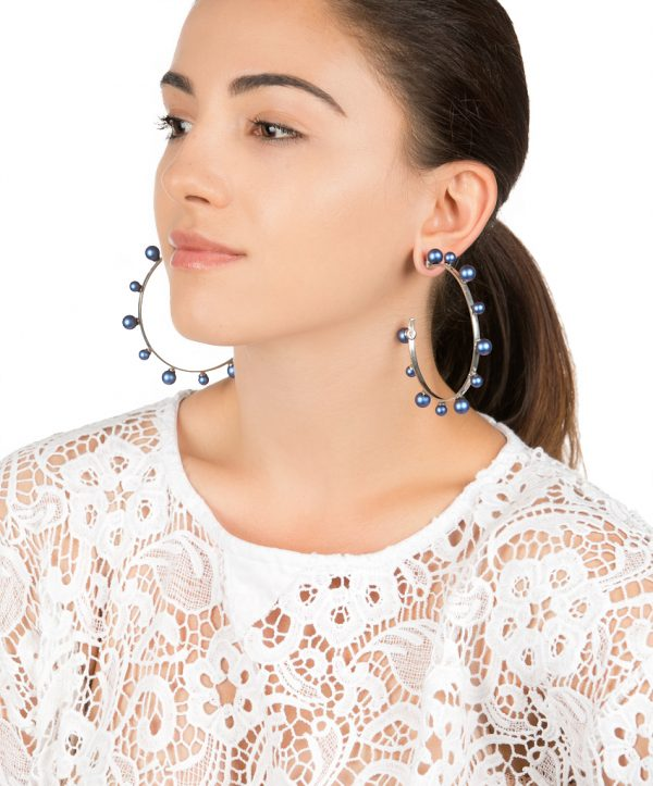 pearl magic silver plated hoops - dark blue