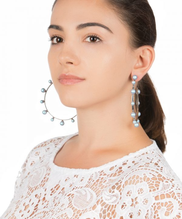 pearl magic silver plated hoops - light blue