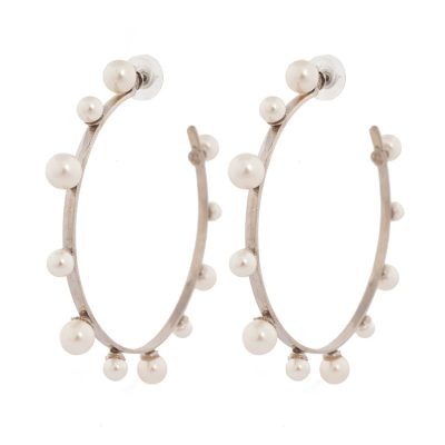 """Pearl Magic""- Rhodium Plated Hoops"