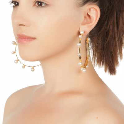 Pearl Magic – Gold Plated Hoops