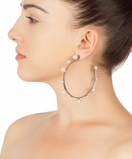 pearl magic silver plated hoops