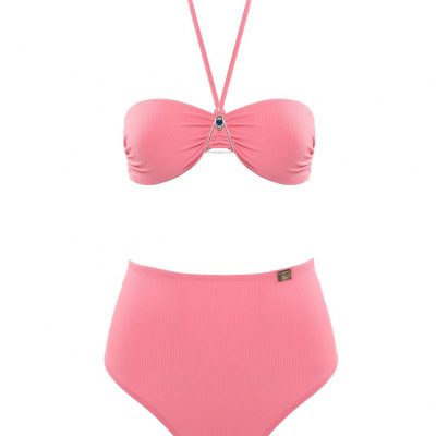 """Blue Eye"" Pink bandeau style swimsuit"