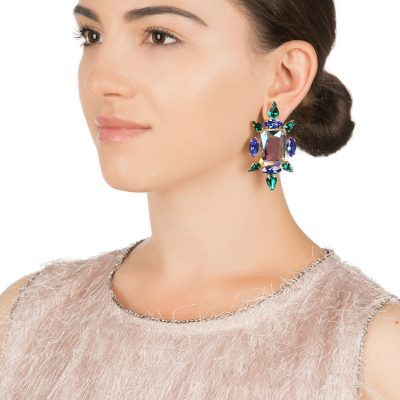 """Crystal Chic"" Earrings – Emerald Chameleon"