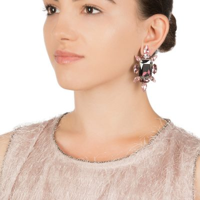 """Crystal Chic"" Earrings – Vintage Rose"