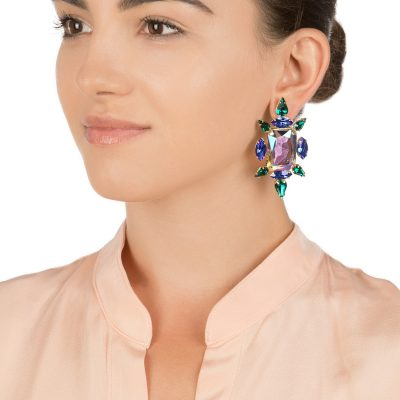 Crystal Chic Earrings – Emerald Chameleon