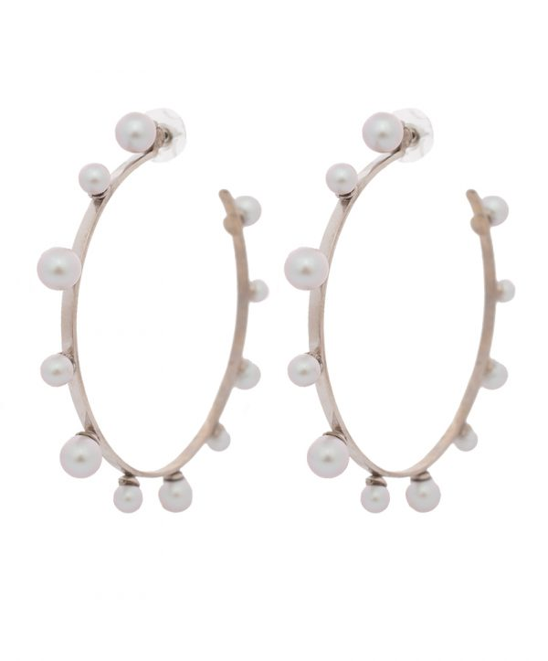 pearl magic silver plated hoops - grey
