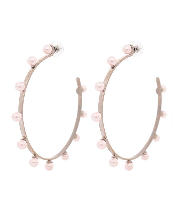 pearl magic silver plated hoops - light pink