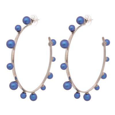 "Colourful ""Pearl Magic"" Rhodium Plated Hoops"