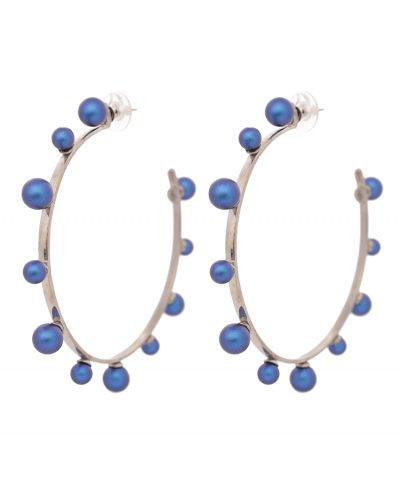 Pearl Magic -Colorful Rhodium Plated Hoops