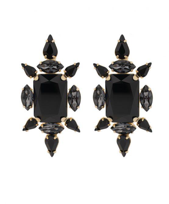 crystal chic earrings - black