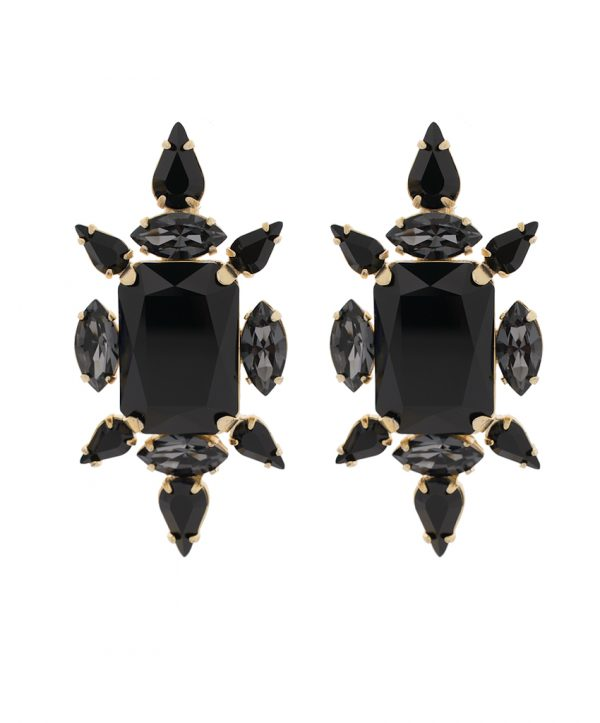 crystal chic earrings - black