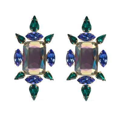 """Crystal Chic"" Earrings - Emerald Chameleon"