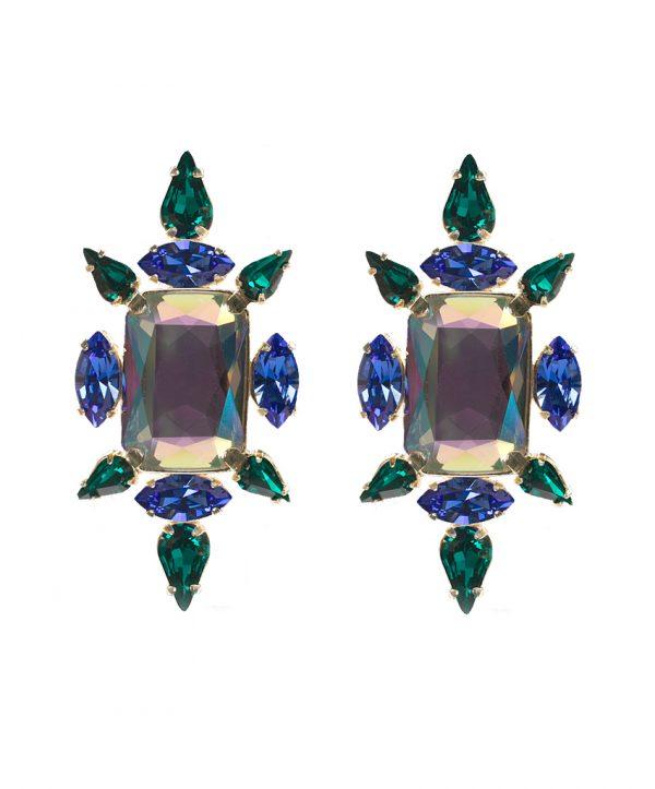 crystal chic earrings - emerald chameleon