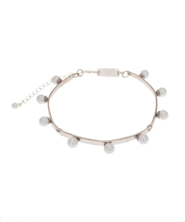 pearl magic silver plated bracelet - grey