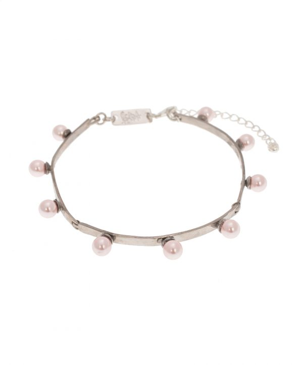 pearl magic silver plated bracelet - light pink