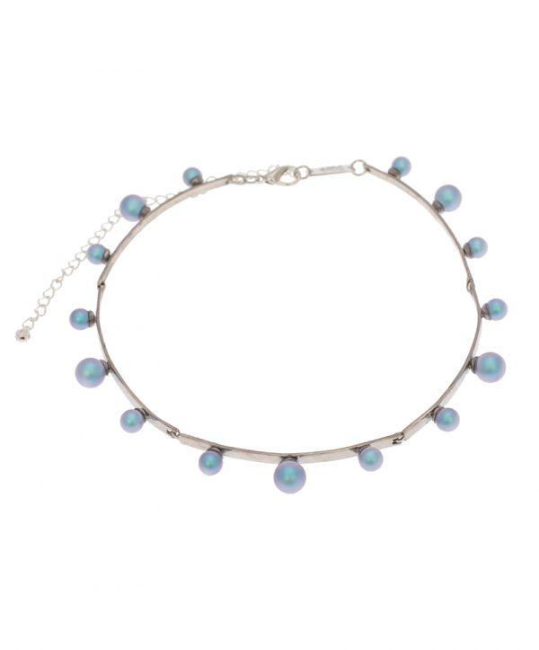 pearl magic silver plated choker - light blue