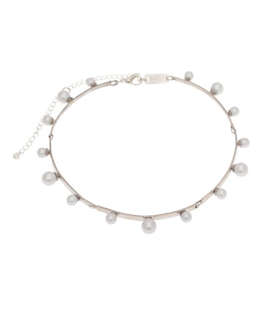 pearl magic silver plated choker - grey