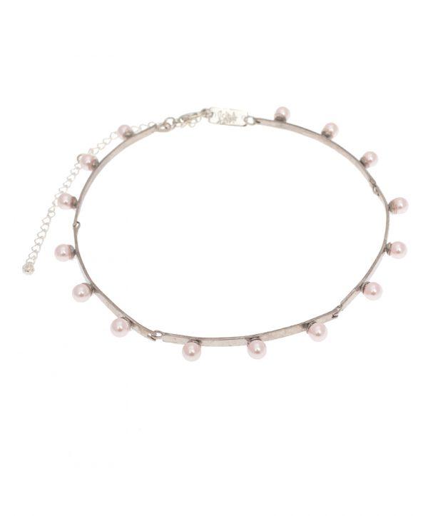 pearl magic silver plated choker - light pink