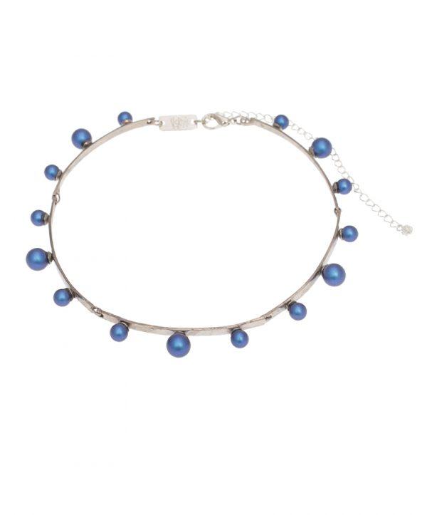 pearl magic silver plated choker - darm blue