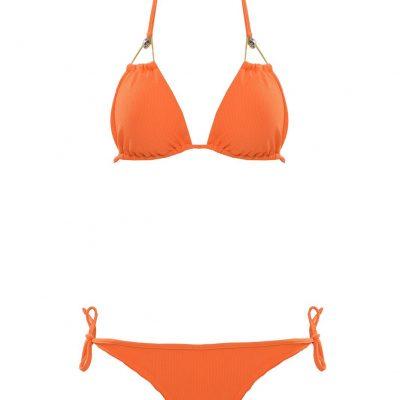 Brown Eyes - Orange triangle bikini top