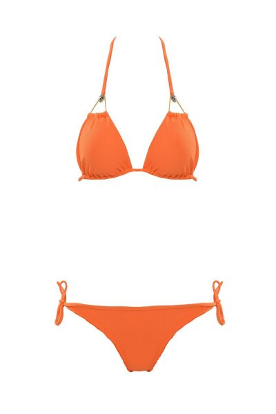 Brown Eyes - Orange triangle bikini top