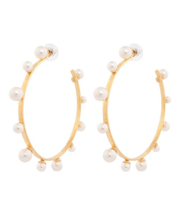 pearl magic gold plated hoops