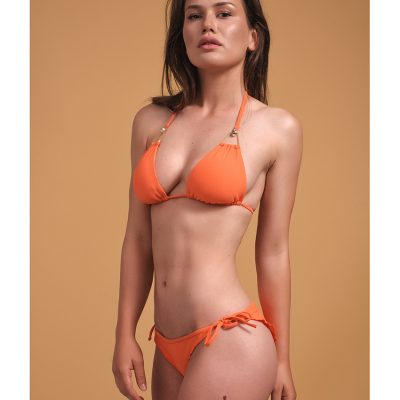 """Brown Eyes"" Orange triangle bikini top"