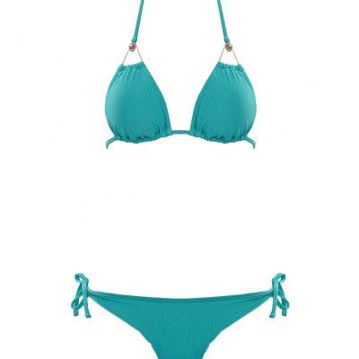Red Eyes - Turquoise triangle bikini top