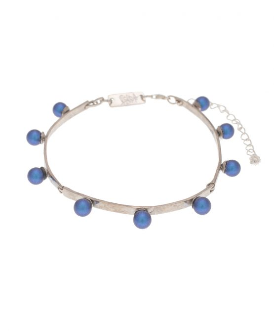 pearl magic silver plated bracelet - dark blue