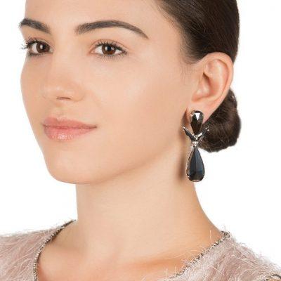 Hematite Crystal Drop Earrings