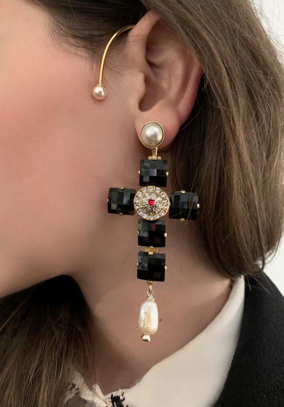 Crystal Cross mono earring