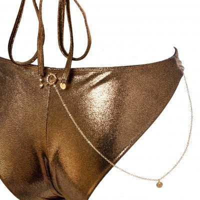 """Golden Kathy""- Triangle bikini top with chain jewel"
