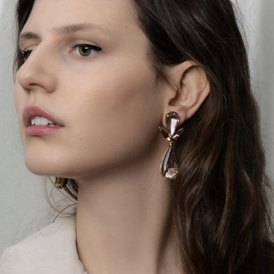 Vintage Rose Crystal Drop Earrings