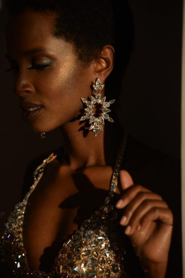 Crystal icon dew earrings