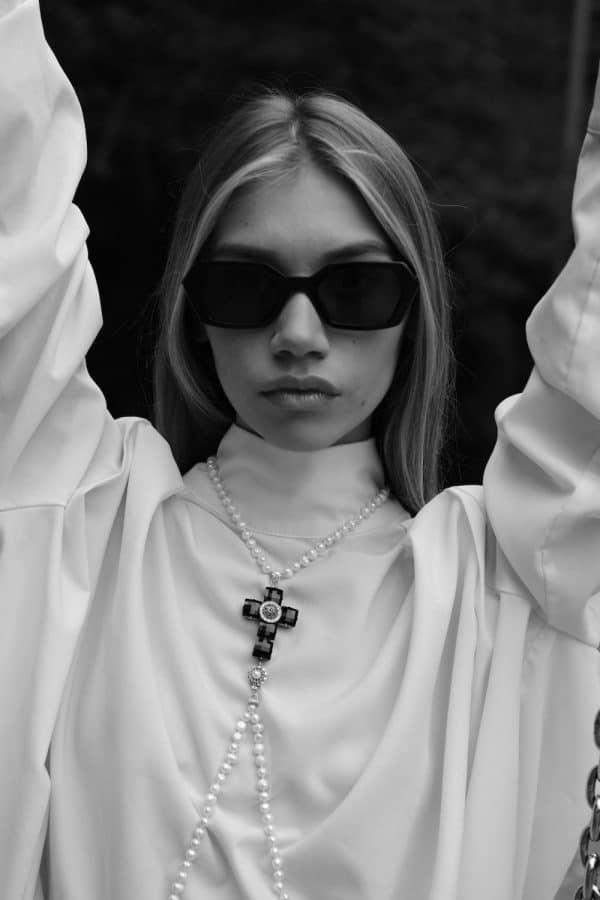 Crystal Cross Pearl Body Jewellery