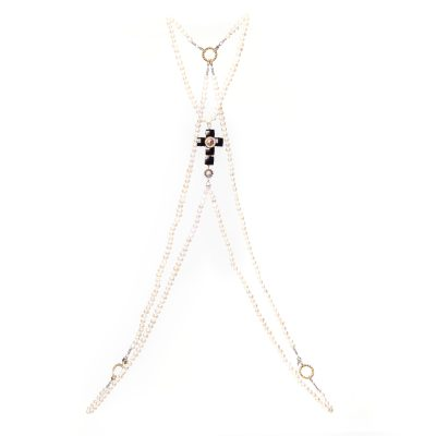 Crystal Cross Pearl Body Jewellery