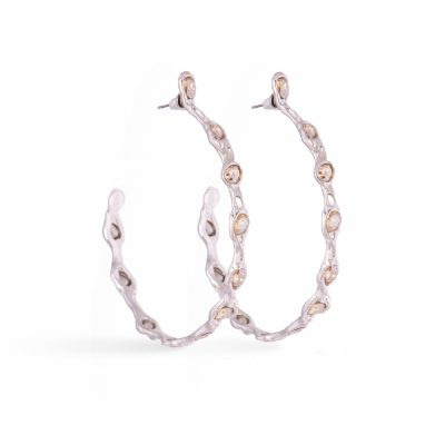 Silver Blossom Hoops
